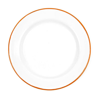 Enamelware V20ORA, 10inch Dinner Plate, Orange Rim