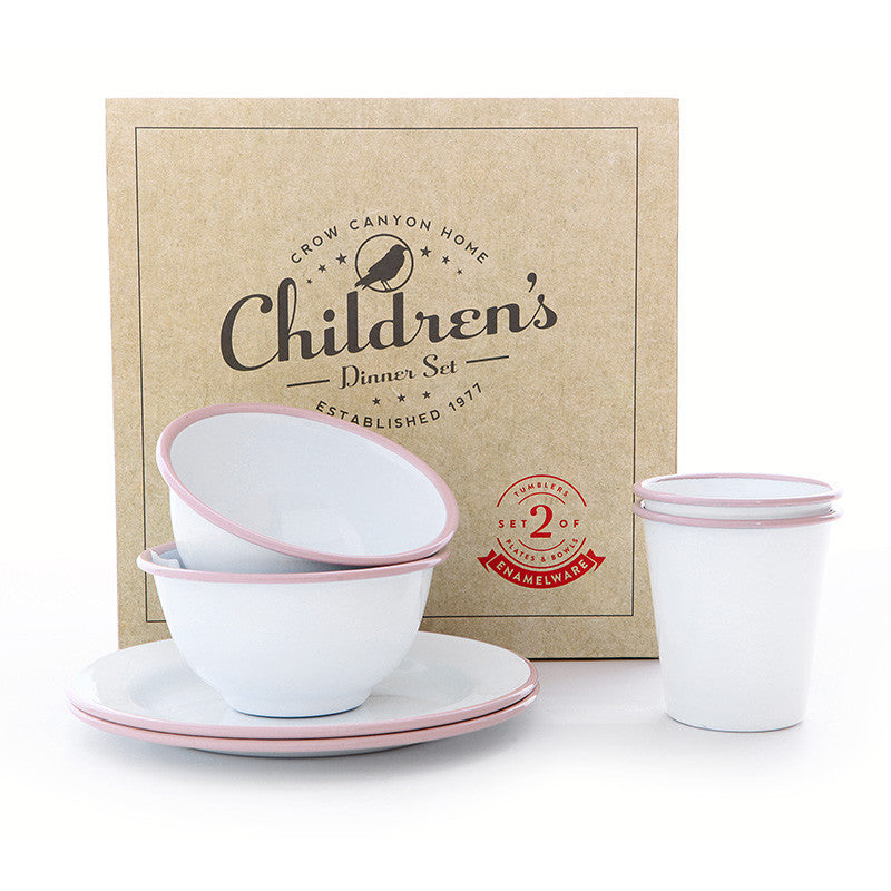 Children's Enamelware Dinner Set, Pink, Vintage Collection Enamelware Crow Canyon Home - ROVE AND SWIG