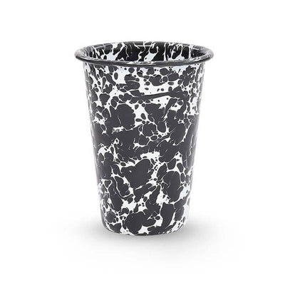 Enamelware Crow Canyon Home Splatter, Enamel 14oz Tumblers, Black Splatterware D93BLM