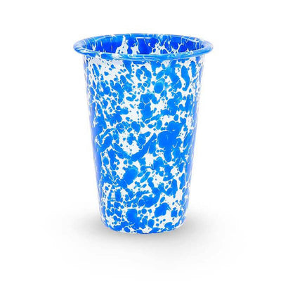 Enamelware Crow Canyon Home Splatter, Enamel 14oz Tumblers, Blue Splatterware D93DBM