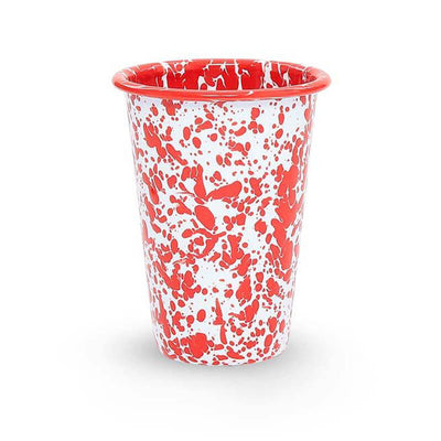 Enamelware Crow Canyon Home Splatter, Enamel 14oz Tumblers, Red Splatterware D93RM
