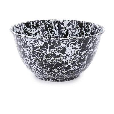 Enamelware Crow Canyon Home Splatter, Enamel 4qt Serving Bowl, Black Splatterware D23BLM