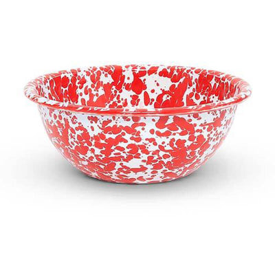 Enamelware Crow Canyon Home Splatter, Enamel Bowl Red Splatterware, D17RM