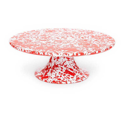 Enamelware Crow Canyon Home Splatter, Enamel Cake Stand Red Spatterware D100RM