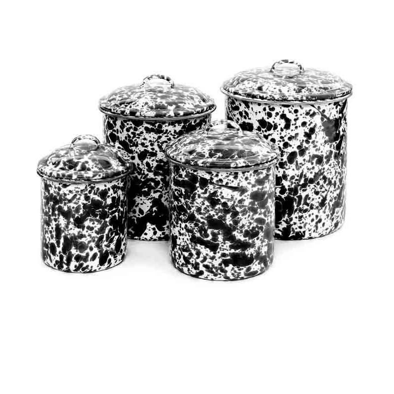 Enamelware Crow Canyon Home Splatter, Enamel Canister Set, Black Splatterware D37BLM