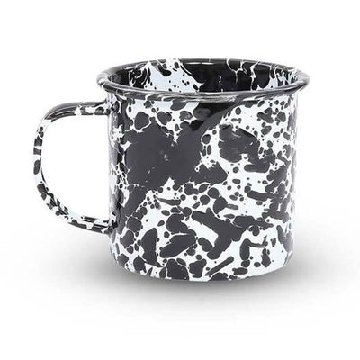 Enamelware Crow Canyon, Home Splatter Enamel Coffee Mug, Black Splatterware