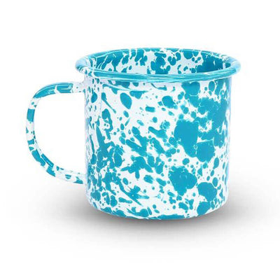 Enamelware Crow Canyon, Home Splatter Enamel Coffee Mug, Turquoise Splatterware D11TQM
