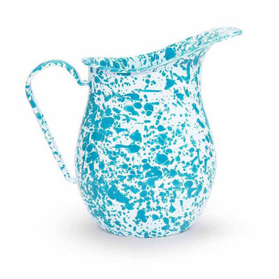 Enamelware Crow Canyon Home Splatter Enamel Large Pitcher Turquoise Splatterware D27TQM