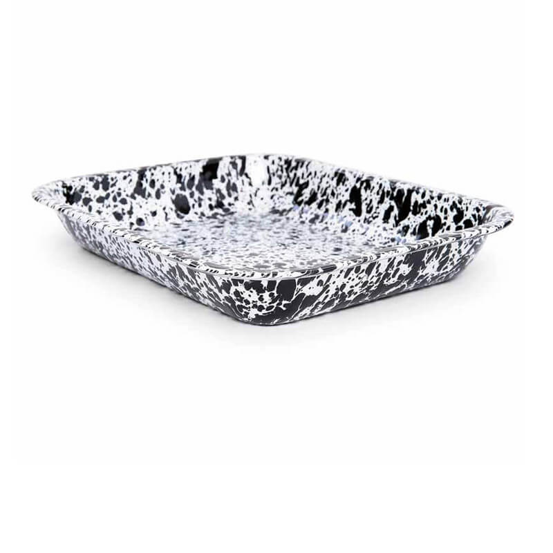 "Enamelware Roasting Pan, 11"" x 13.5"", Splatterware Collection"