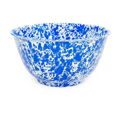 Enamelware Crow Canyon Home Splatter, Enamel Large Serving Bowl, Blue Splatterware D23DBM