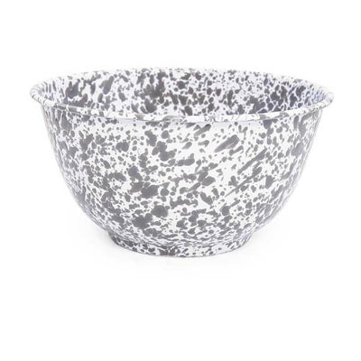 Enamelware Crow Canyon Home Splatter, Enamel Large Serving Bowl Grey, Gray Splatterware D23GYM