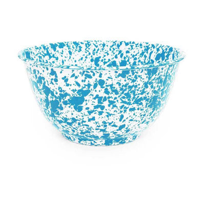 Enamelware Crow Canyon Home Splatter, Enamel Large Serving Bowl, Turquoise Splatterware D23TQM
