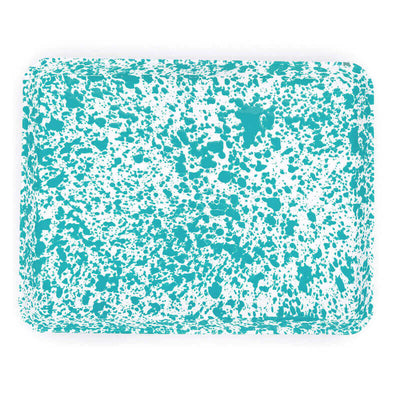 Enamelware Crow Canyon Home Splatter, Enamel Rectangular Tray, Jelly Roll Baking Pan, Turquoise Splatterware D90TQM