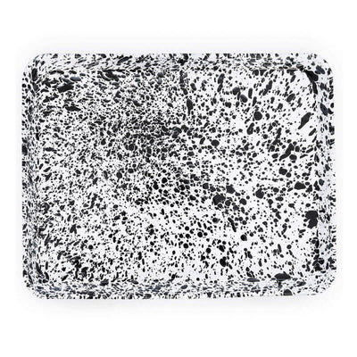Enamelware Crow Canyon Home Splatter, Enamel Rectangular Tray Jelly Roll, Baking Sheet Black Splatterware D90BLM