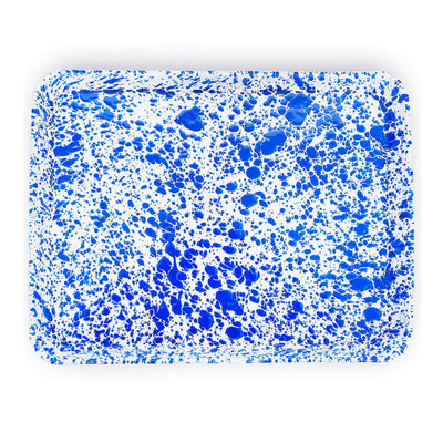 enamelware Crow Canyon Home Splatter, Enamel Rectangular Tray Jelly Roll Baking Sheet, Blue Splatterware D90DBM