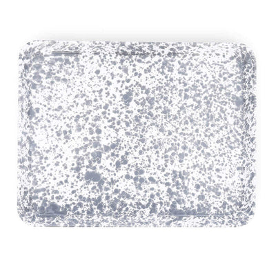 Enamelware Crow Canyon Home Splatter, Enamel Rectangular Tray, Jelly Roll Baking Sheet Grey, Gray Splatterware D90GYM