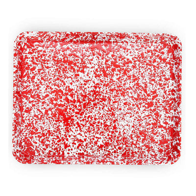 Enamelware Crow Canyon Home Splatter, Enamel Rectangular Tray Jelly Roll, Baking Sheet Red Splatterware D90RM