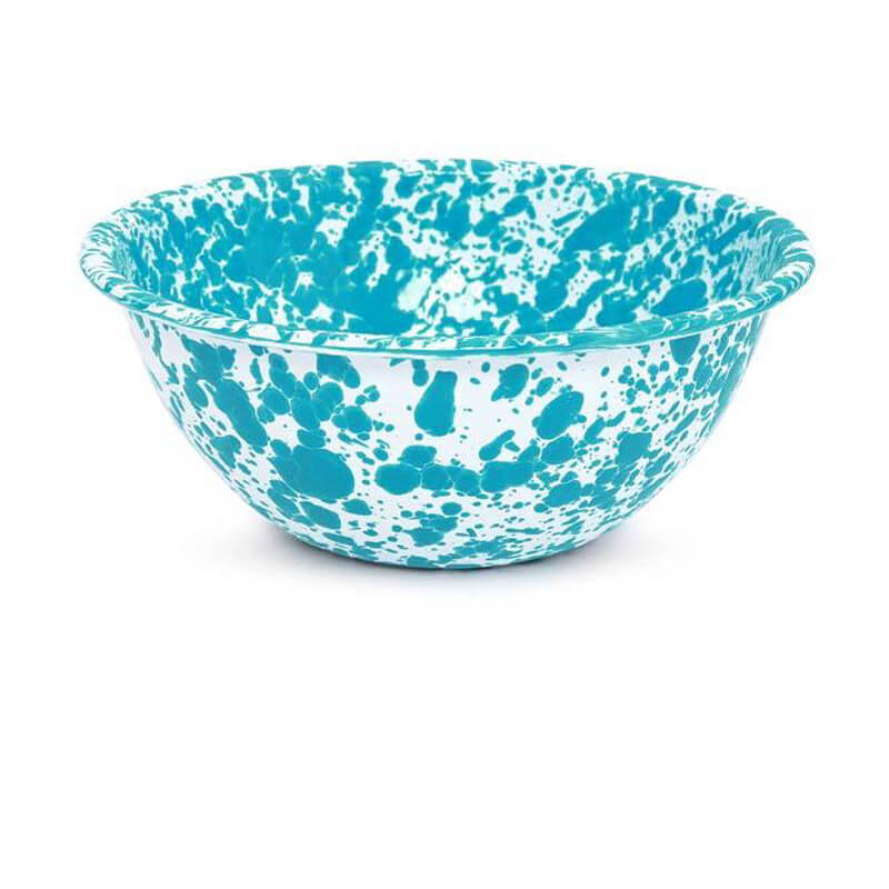 Enamelware Crow Canyon Home Splatter, Enamel Serving Bowl Turquoise Splatterware D18TQM