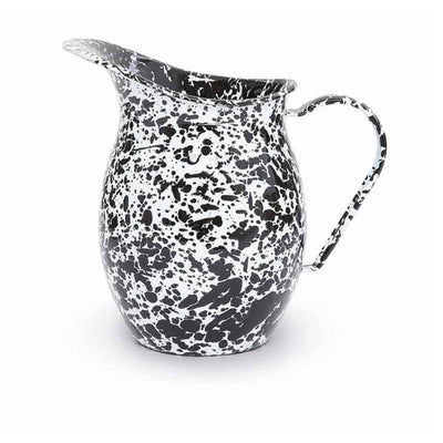 Enamelware Crow Canyon Home Splatter, Enamel Small Pitcher, Black Splatterware D72BLM