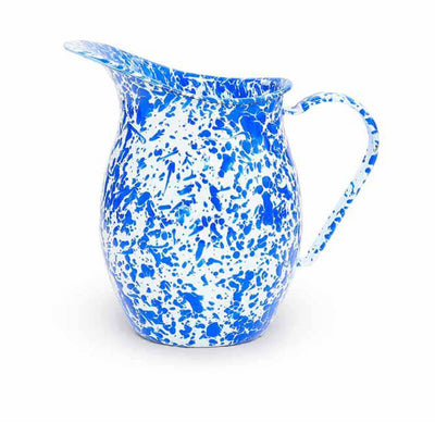 Enamelware Crow Canyon Home Splatter, Enamel Small Pitcher, Blue Splatterware D72DBM