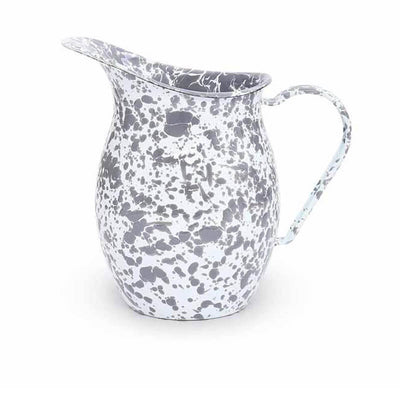 Enamelware Crow Canyon Home Splatter, Enamel Small Pitcher Grey, Gray Splatterware D72GYM