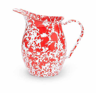 Enamelware Crow Canyon Home Splatter, Enamel Small Pitcher, Red Splatterware D72RM