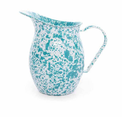Enamelware Crow Canyon Home Splatter, Enamel Small Pitcher, Turquoise Spatterware D72TQM