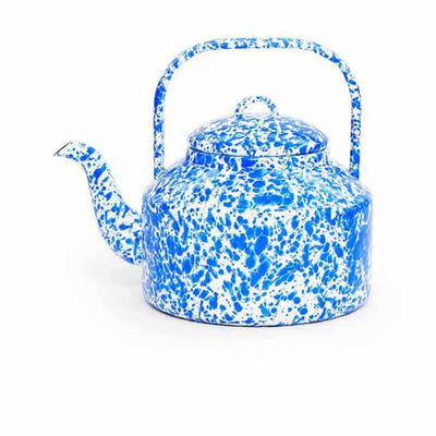Enamelware Crow Canyon Home Splatter, Enamel Tea Kettle, Blue Splatterware D47DBM