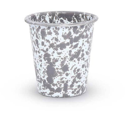 Enamelware Crow Canyon Home Splatter, Enamel Tumbler Grey, Gray Splatterware D03GYM