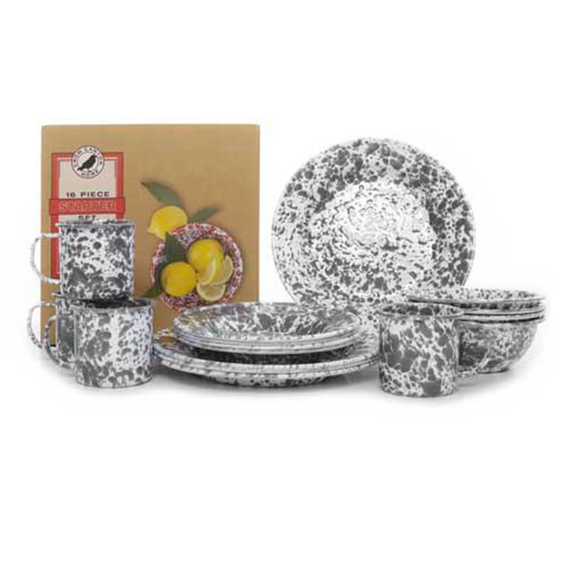Enamelware Dinnerware Set, 16-Piece, Splatterware Collection