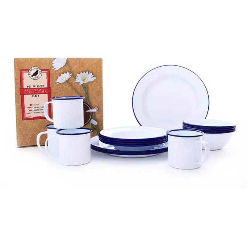 Enamelware Dinnerware Set, 16-Piece, Vintage Collection