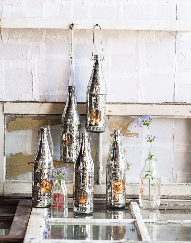 Repurposed Silver Bottle Lantern Housewares Homeport Collection - ROVE AND SWIG