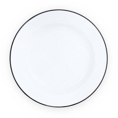 White Black Rim Vintage Enamelware, Crow Canyon Home Enamel Dinner Plate, V20BLA