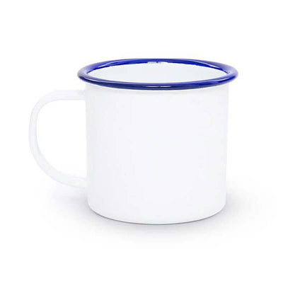 White Blue Rim Vintage Enamelware, Crow Canyon Home Enamel Coffee Mug V11BLU
