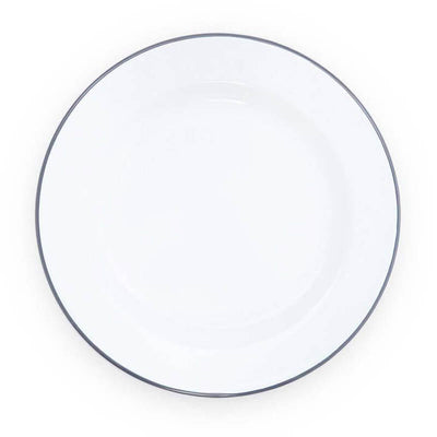 White Grey Gray Rim Vintage Enamelware, Crow Canyon Home Enamel Dinner Plate V20GRY