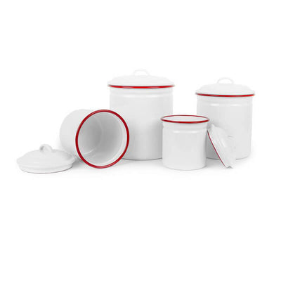 White Red Rim Vintage Enamelware Crow Canyon Home, Enamel Canister Set V37RED