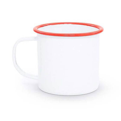 White Red Rim Vintage Enamelware, Crow Canyon Home Enamel Coffee Mug V11RED