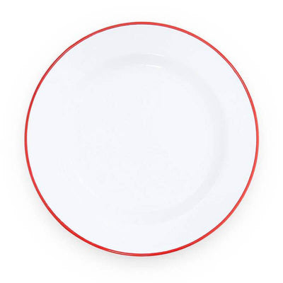 White Red Rim Vintage Enamelware, Crow Canyon Home Enamel Dinner Plate V20RED