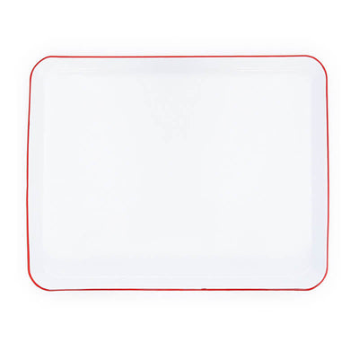 White Red Rim Vintage Enamelware, Crow Canyon Home Enamel Rectangular Tray, Jelly Roll Baking Sheet V90RED