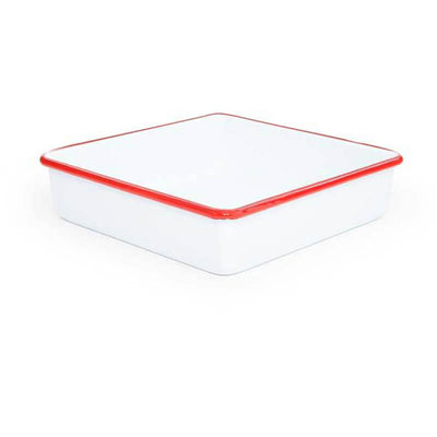 White Red Rim Vintage Enamelware, Crow Canyon Home Enamel, Square Brownie Pan V101RED