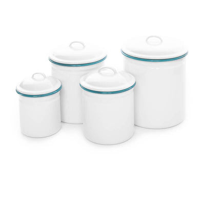 White Turquoise Rim Vintage Enamelware Crow Canyon Home, Enamel Canister Set V33TUR