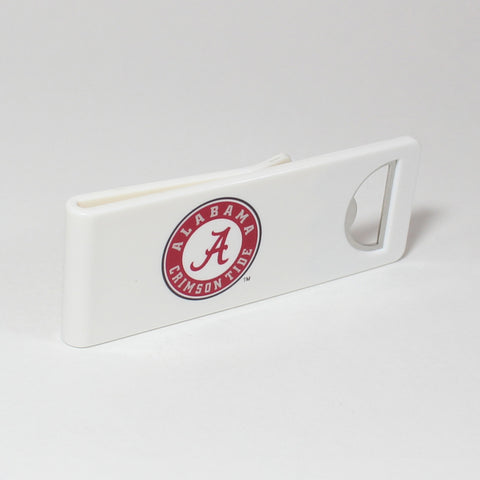 The Alabama Speed Clip is a dual-function, slide-on bottle opener that can be worn on pockets, shirt sleeves, baseball caps, belt loops and more for quick, convenient access wherever you are. Speed Clips can also be used as a chip bag clip, document clip or money clip.