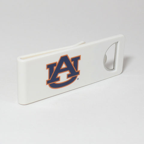 The Auburn Speed Clip is a dual-function, slide-on bottle opener that can be worn on pockets, shirt sleeves, baseball caps, belt loops and more for quick, convenient access wherever you are. Speed Clips can also be used as a chip bag clip, document clip or money clip.