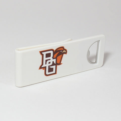 The Bowling Green Speed Clip is a dual-function, slide-on bottle opener that can be worn on pockets, shirt sleeves, baseball caps, belt loops and more for quick, convenient access wherever you are. Speed Clips can also be used as a chip bag clip, document clip or money clip.
