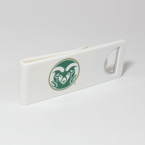 The Colorado State Speed Clip is a dual-function, slide-on bottle opener that can be worn on pockets, shirt sleeves, baseball caps, belt loops and more for quick, convenient access wherever you are. Speed Clips can also be used as a chip bag clip, document clip or money clip.
