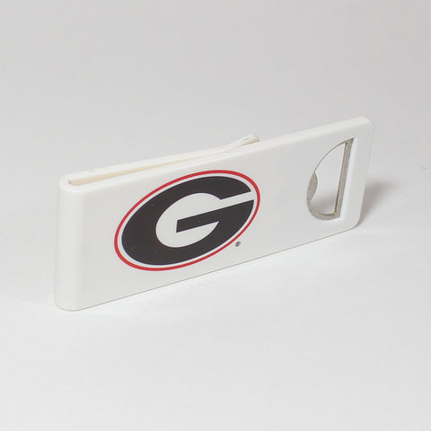 The Georgia Speed Clip is a dual-function, slide-on bottle opener that can be worn on pockets, shirt sleeves, baseball caps, belt loops and more for quick, convenient access wherever you are. Speed Clips can also be used as a chip bag clip, document clip or money clip.