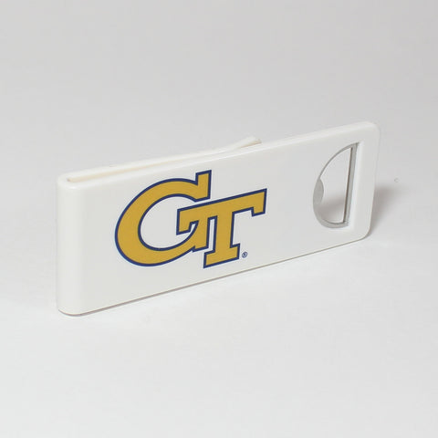 The Georgia Tech Speed Clip is a dual-function, slide-on bottle opener that can be worn on pockets, shirt sleeves, baseball caps, belt loops and more for quick, convenient access wherever you are. Speed Clips can also be used as a chip bag clip, document clip or money clip.