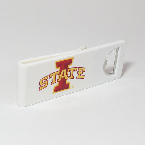 The Iowa State Speed Clip is a dual-function, slide-on bottle opener that can be worn on pockets, shirt sleeves, baseball caps, belt loops and more for quick, convenient access wherever you are. Speed Clips can also be used as a chip bag clip, document clip or money clip.