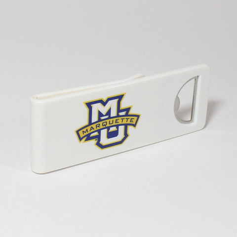 The Marquette Speed Clip is a dual-function, slide-on bottle opener that can be worn on pockets, shirt sleeves, baseball caps, belt loops and more for quick, convenient access wherever you are. Speed Clips can also be used as a chip bag clip, document clip or money clip.