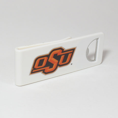 The Oklahoma State Speed Clip is a dual-function, slide-on bottle opener that can be worn on pockets, shirt sleeves, baseball caps, belt loops and more for quick, convenient access wherever you are. Speed Clips can also be used as a chip bag clip, document clip or money clip.